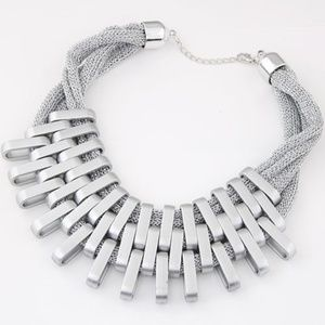 Silvertone Geometric Collar Necklace